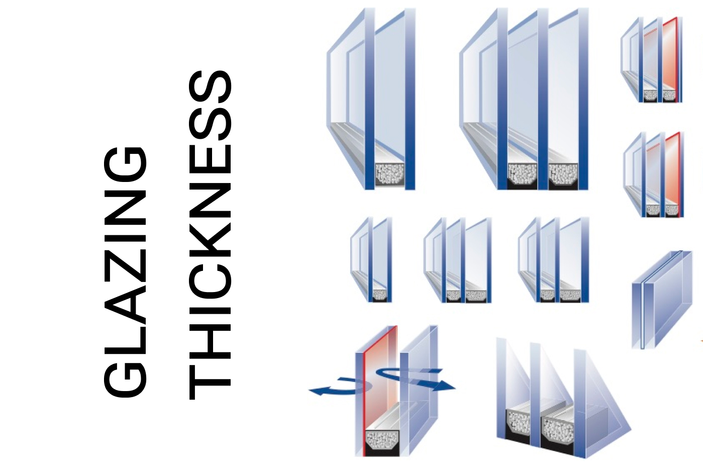 Double glazing thickness
